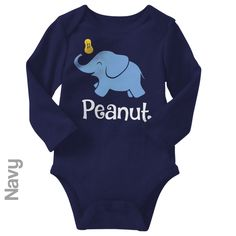 Peanut (Elephant) - Long Sleeve Infant Onesie   One-Piece Bodysuit   Baby Clothes   Also On Etsy