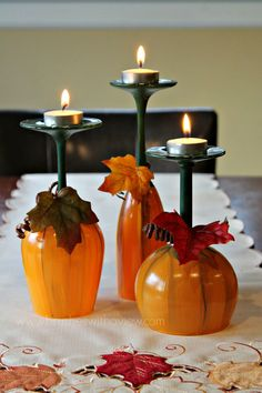 Fall Table Centerpiece Pumpkin Wine Glasses- Thanksgiving Wine Glasses- Candle holder- Set of Hand Painted Wine Glasses fall crafts diy thanksgiving - Diy Fall Crafts Pumpkin Wine, Wine Glass Candle Holder, Candle Stand, Glass Holders, Glass Votive, Glass Table, Fall Table Centerpieces, Centrepiece Ideas, Wine Glass Crafts