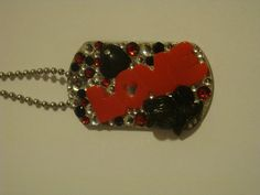 Dark Love Dog Tag Pendant Necklace with BLING by Jazznitup on Etsy, $20.00