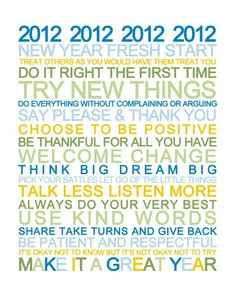 Free New Years Resolutions Printable in four different color schemes.