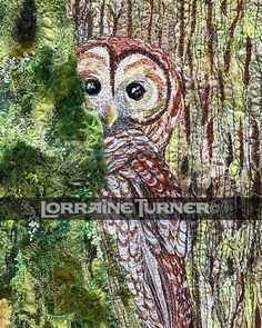 Gallery page 2 - Lorraine Turner's Calico Horses Owl Art, Bird Art, Barred Owl, Bird Quilt, Wildlife Paintings, Thread Painting, Textile Artists, Fabric Art, Mixed Media Art