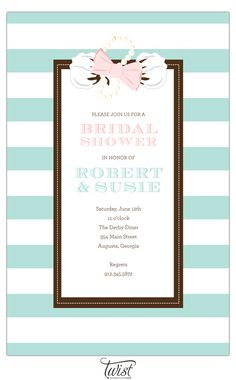 Bow Tie, Pearls and Cotton Invitation by Twist Paper  www.TwistPaper.com #invitation #southern #pastel #wedding