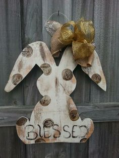Distressed Easter Bunny with Chalk Paint by CurlyQsCreation for $30.00
