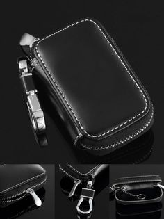 [Visit to Buy] Leather Car Keychain Key Fob Case Cover Holderfor Jeep 2014 Cherokee Grand Cherokee Wrangler Compass Patriot Smart Key Holder #Advertisement