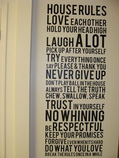 house rules | vinyl wall cling house rules front | Semper Fi Momma