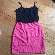 Short Prom Dress Coral and Black ✨ Body con coral and black prom dress. NEW BUT NO TAGS. Dressy and comfy! Chiffon loose top that can accommodate up to a 36C/ 34D, even at a size Small. Purchased at a boutique, listed for exposure. Never worn out! Juicy Couture Dresses Prom