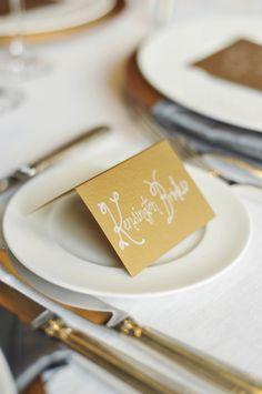 Gold Silver Winter Wedding Inspiration from Rebekah Westover Wedding Seating Cards, Wedding Name Cards, Wedding Reception Seating, Wedding Venue Decorations, Wedding Programs, Gold Christmas, Christmas Colors, Silver Winter Wedding, Gold Wedding