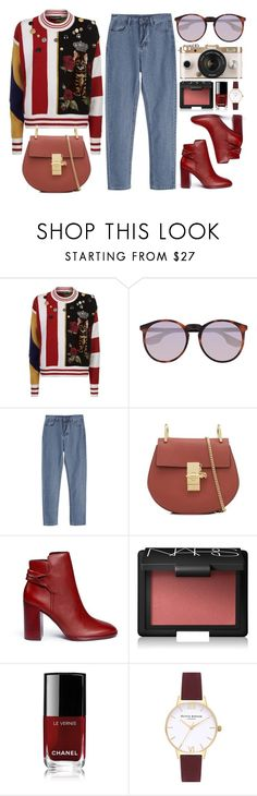 """""""Monday"""" by smartbuyglasses ❤ liked on Polyvore featuring Dolce&Gabbana, McQ by Alexander McQueen, Mercedes Castillo, Urban Outfitters, NARS Cosmetics, Chanel, Topshop and red"""