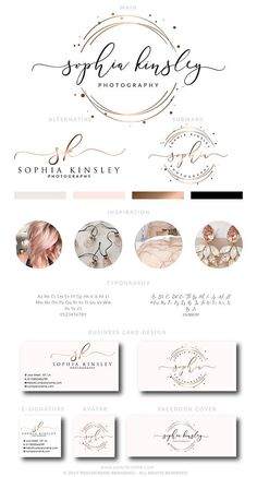 Rose Gold Logo Design Rose Gold Branding kit Premade