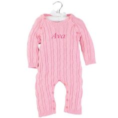 2dc39d8edf1 Pink Cable Knit Sweater Romper by Mud Pie featured by Just Multiples Baby  Online