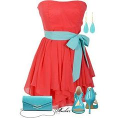 Turquoise & red fashion