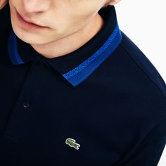 Lacoste Men's Slim Fit Contrast Pima Piqué Polo - Navy Blue/Electric Blue-N Polo Shirt Style, Polo Shirt Outfits, Polo Shirt Design, Mens Polo T Shirts, Lacoste Polo Shirts, Lacoste Men, Pique Polo Shirt, Sneakers Lacoste, Camisa Polo