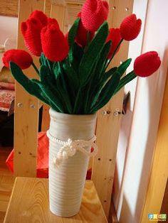 ...Fazendo Crochê...: Pap tulipa de crochê
