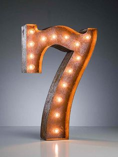 Marquee Light - different numbers to select from. Maybe use these outdoors on a porch to signify your house number or they would look really cool in a basement/man cave to represent your favorite sports team numbers. Neon Letter Lights, Marquee Lights, Light Letters, Lucky 7, Lucky Number, Letters And Numbers, 3d Letters, Mellow Yellow, Decoration