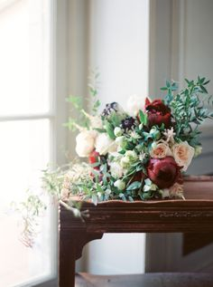 A gorgeous moody bouquet: http://www.stylemepretty.com/2015/10/01/moody-alder-manor-fall-wedding/ | Photography: Jen Huang - http://jenhuangphoto.com/