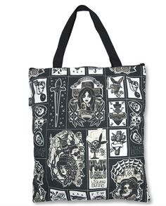 "Tote Bag featuring Cholo Inspired Tattoo Flash - All Over Print, High Quality Canvas Bag - Canvas - Size: 17"" x 19.5"" - 50% Cotton & 50% Polyester"