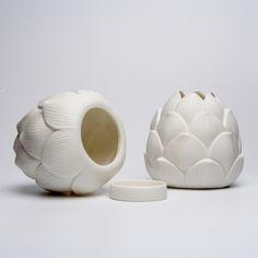 Luna Porcelain, Nature Porcelain, Artichoke t'lights, Porcelain votive, Set of 2 artichoke, Porcelain, South Africa T Lights, Candle Holders, Porcelain, Vase, Candles, Ceramics, Artichoke, South Africa, Crafts