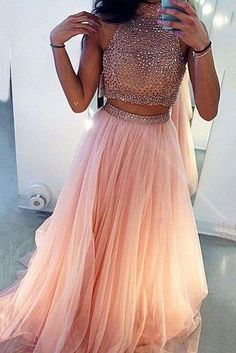 Two Pieces Prom Dresses Ball Gown High Neck With Rhinestones Beaded 2 Pieces Pink Tulle Prom Gown Prom Dress High Neck Prom Dress Pink Prom Dress Prom Dress Two Piece Prom Dress Ball Gown Prom Dresses 2019 Homecoming Dresses Long, Prom Dresses For Teens, Ball Gowns Prom, Ball Dresses, Party Dresses, Prom Long, Short Prom, Blush Pink Prom Dresses, Tulle Prom Dress