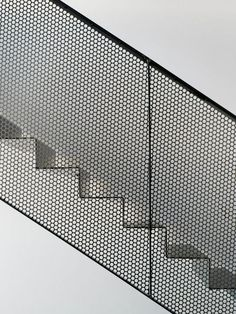 Metal mesh + geometrical shapes, structured on grid - Villa Öjersjö: A Contemporary Black Wooden House by Bornstein Lyckefors arkitekter Stair Handrail, Staircase Railings, Stairways, Wood Railing, Railing Ideas, Spiral Staircases, Railing Design, Staircase Design, Stair Design