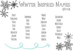 Winter Inspired Names! Create a Sibset of 3 girls & 3 boys using these names! I'd go wit Cute Baby Names, Pretty Names, D Boy Names, Name Inspiration, Writing Inspiration, Writing Words, Writing Tips, Unique Girl Names, Fantasy Names