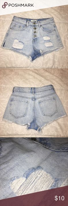Distressed Denim Shorts High waisted denim shorts, super cute, perfect for summer!   Don't be afraid to make offers!!! Forever 21 Shorts Jean Shorts