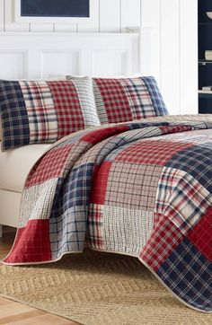 Free shipping and returns on Nautica 'Ansell' Pieced Quilt at Nordstrom.com. Timeless menswear-inspired plaids in a rich palette are pieced together on a channel-stitched quilt that adds dimension and a tailored finish to any bedroom. Made from pre-washed cotton for added softness, you can flip to the complimentary solid reverse for added versatility.