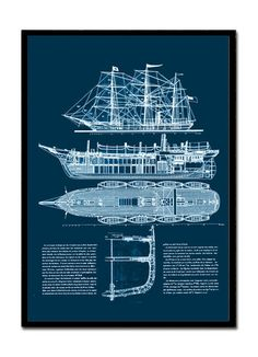 Ships Blueprint of an American Clipper dated by Empressionista