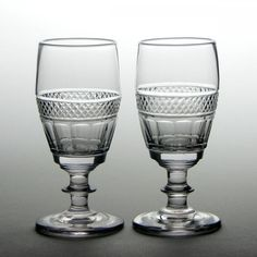 Heading : Pair of  wine glasses Date : c1835 Period : William IV Origin : England Colour : Clear Bowl : An incurved bucket bowl with a band of slice cuts below a band of diamonds  Stem : Angular knop Foot : Conical Pontil : Polished Type : Lead Size : 13cm tall with a 5.5cm bowl and a 6.1cm foot Condition : Excellent, no chips or cracks Restoration : None  Weight : 337 grams combined Port Wine Glasses, French Wine, Mason Jar Wine Glass, Period, Restoration, Chips, Diamonds, Bucket, England