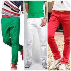 look hombre jean rojo y camisa - Buscar con Google