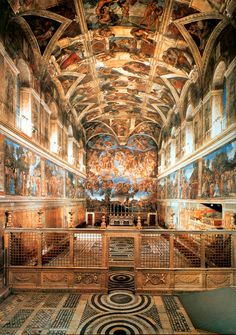 Sistine Chapel (The Vatican in Rome, Italy)--One of the things on my bucket list to see. I've seen it three times in my life, and I am still in awe. I cried the first time that I saw it because it was so moving. Places Around The World, Oh The Places You'll Go, Places To Travel, Places To Visit, Around The Worlds, Travel Route, Travel Tips, Visit Rome, Rome Florence