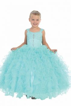 Aqua Sleeveless Ruffle Organza Gown Flower Girl Dress with Beaded Bodice TT-7004-AQ on www.GirlsDressLine.Com