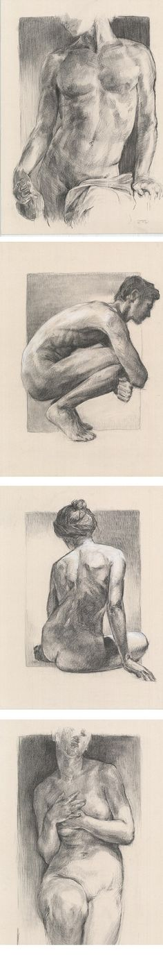 This is collection of my male nudes and female nudes. I've made this artworks with charcoal and white chalk cardboard.