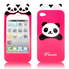 Apple iPhone 4 Silicone Grip Kawaii Panda Skin Case With Retail Package