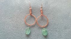 Copper wire kumihimo earrings with green coloured quartz  www.facebook.com/KimsGlitteringGems