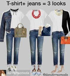 Even if you're a serious fashionista, there are some days when you just can't figure out a practical outfit that makes you look + feel… Mode Outfits, Jean Outfits, Chic Outfits, Fall Outfits, Summer Outfits, Fashion Outfits, Womens Fashion, Fashion Clothes, Style Fashion