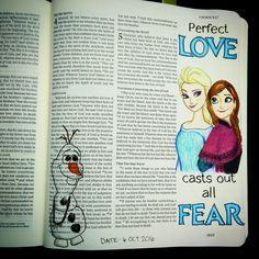 Bev Knaup bible journaling 1 John 4:18