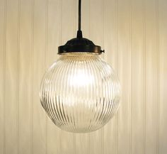 LARGE PENDANT Light Clear Holophane Globe by LampGoods on Etsy https://www.etsy.com/listing/88261473/large-pendant-light-clear-holophane