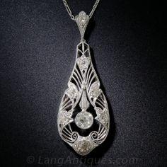 Edwardian Platinum and Diamond Pendant Necklace