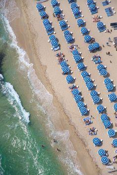 St. Tropez Blue Umbrellas Vertical
