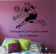 volleyball wall decal love sticker art decor bedroom design mural sports lifestyle work out home decor - Volleyball Bedroom Decor