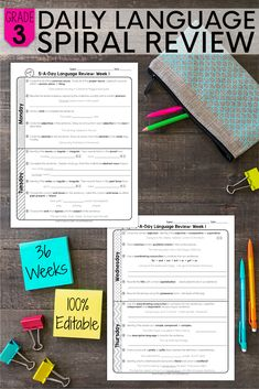 This 3rd grade daily spiral review is one of the easiest ways to make sure you are covering all the important grammar and vocabulary standards that your students need to know. This resource can be used as MORNING WORK, HOMEWORK, or as a CENTER ACTIVITY. With this spiral review, you will easily be able to PREVIEW and REVIEW all year long! Teaching Vocabulary, Teaching Grammar, Grammar And Vocabulary, Sixth Grade, Third Grade, Teaching Materials, Teaching Ideas, Teaching Critical Thinking, Mentor Texts