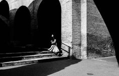 Adults Only Architecture Black & White Black And White Blackandwhite Blackandwhite Photography Built Structure Colloseum Full Length Italy One Person Outdoors People Real People Rome Shadow Silhouette Skirt Skirts Stairs Step Up Street Photography Streetphotography Sunlight Woman