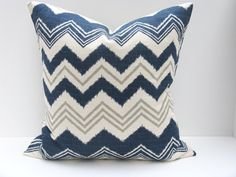 Guest bedroom -Blue Gray Pillow Missoni Pillow Cover Chevron Pillow ONE 16x16 Dark Blue Pillow Cover Navy Pillow Gray Chevron Printed Fabric both sides