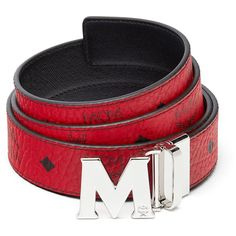 """MCM Claus Reversible Belt 1.5"""""""" In Visetos ($295) ❤ liked on Polyvore featuring men's fashion, men's accessories, men's belts, mens real leather belts, men's reversible leather belt, mcm mens belt, mens leather belts and mens genuine leather belts"""