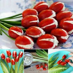 Cream Cheese Stuffed Tomato Tulips