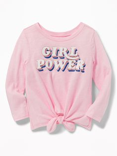 Old Navy Toddlers' Graphic Tie-Hem Tee Girl Power Size Girls Fall Outfits, Cute Girl Outfits, Toddler Girl Outfits, Toddler Girls, Toddler Boy Gifts, Baby Girl Pajamas, Young Girl Fashion, Girl Trends, Doll Clothes Barbie