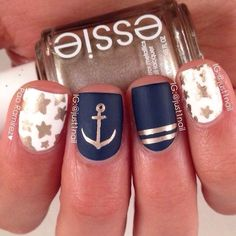 Minus the stars.... Do the navy on all fingers and put stripes on the other two.
