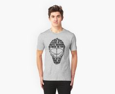 """""""Hockey Goalie Mask Typography"""" T-Shirts & Hoodies by gamefacegear 