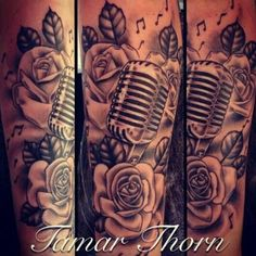like the microphone, music notes and roses all incorporated, like the shading of the roses