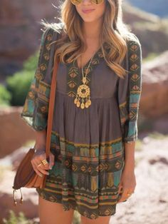 Purple Tribal Print Bohemian Dress 18.67